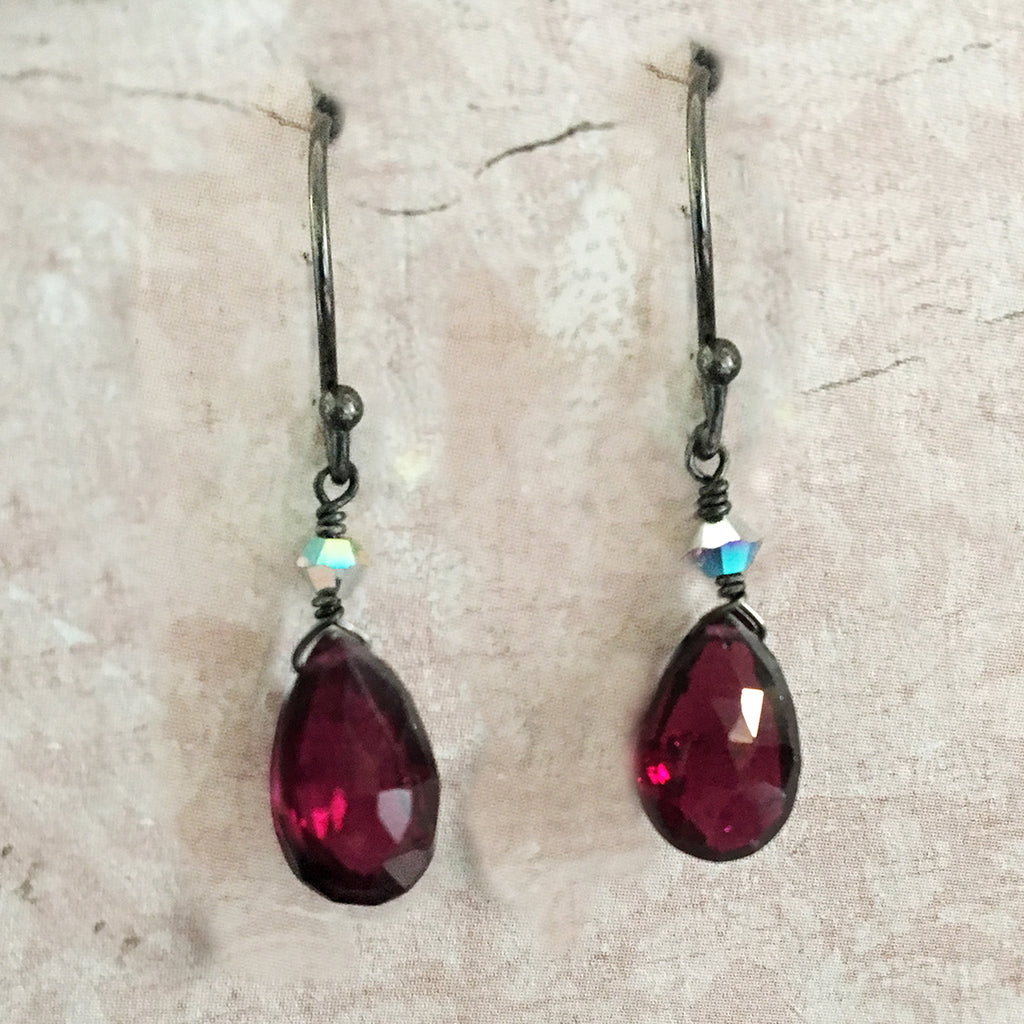 Rhodanite Garnet Briolette Earrings