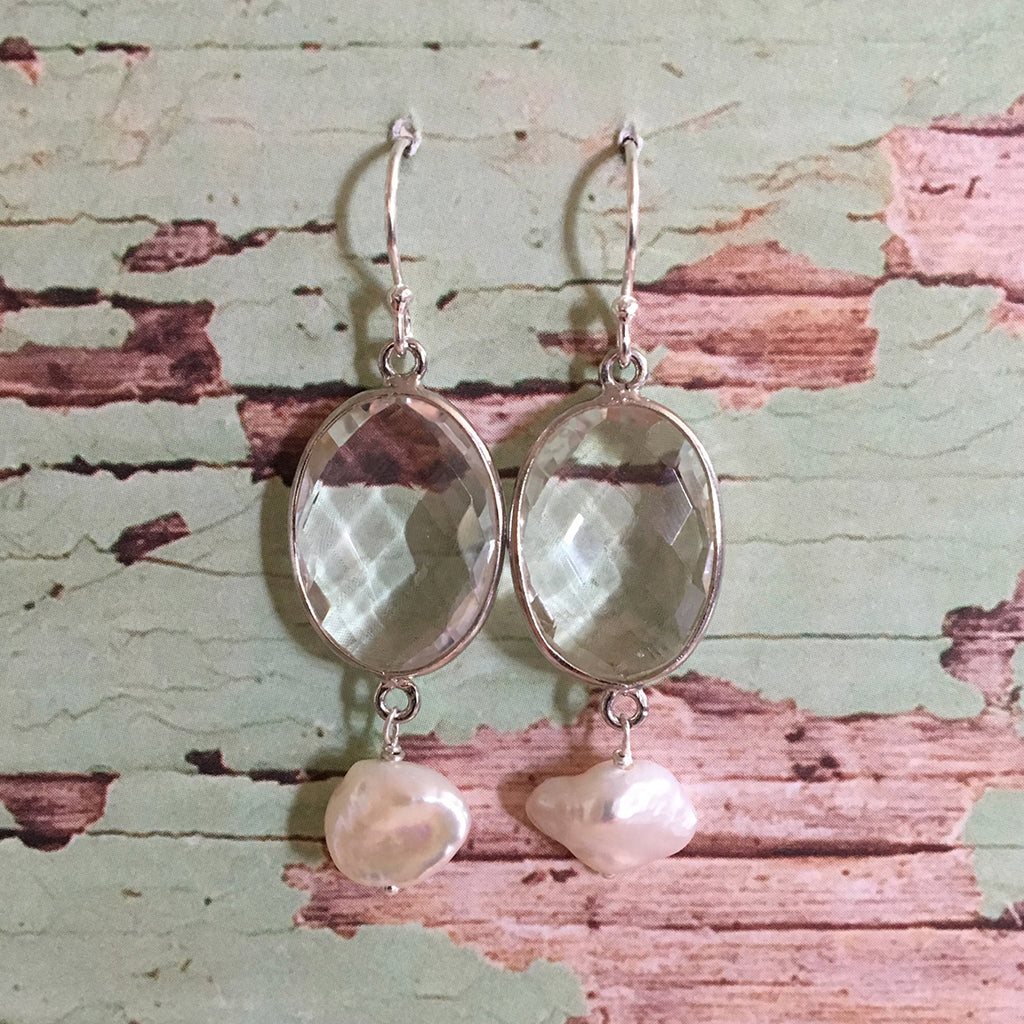 Rock Crystal and Pearl Earrings