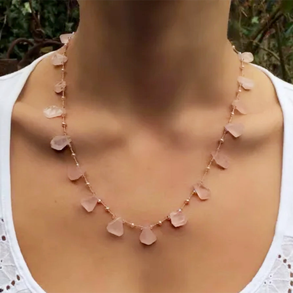 Rose Quartz with Freshwater Pearls and Swarovski Crystals Necklace