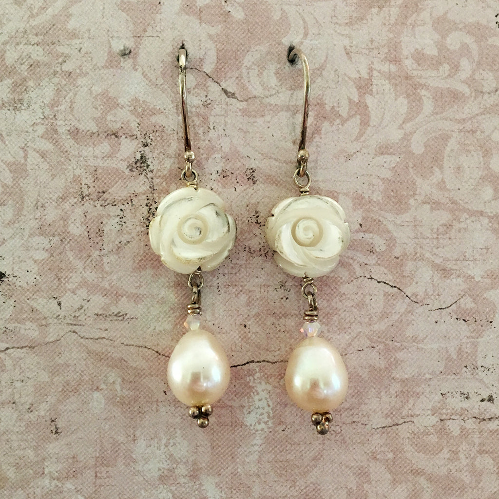 Rose and Drop Pearl Earrings