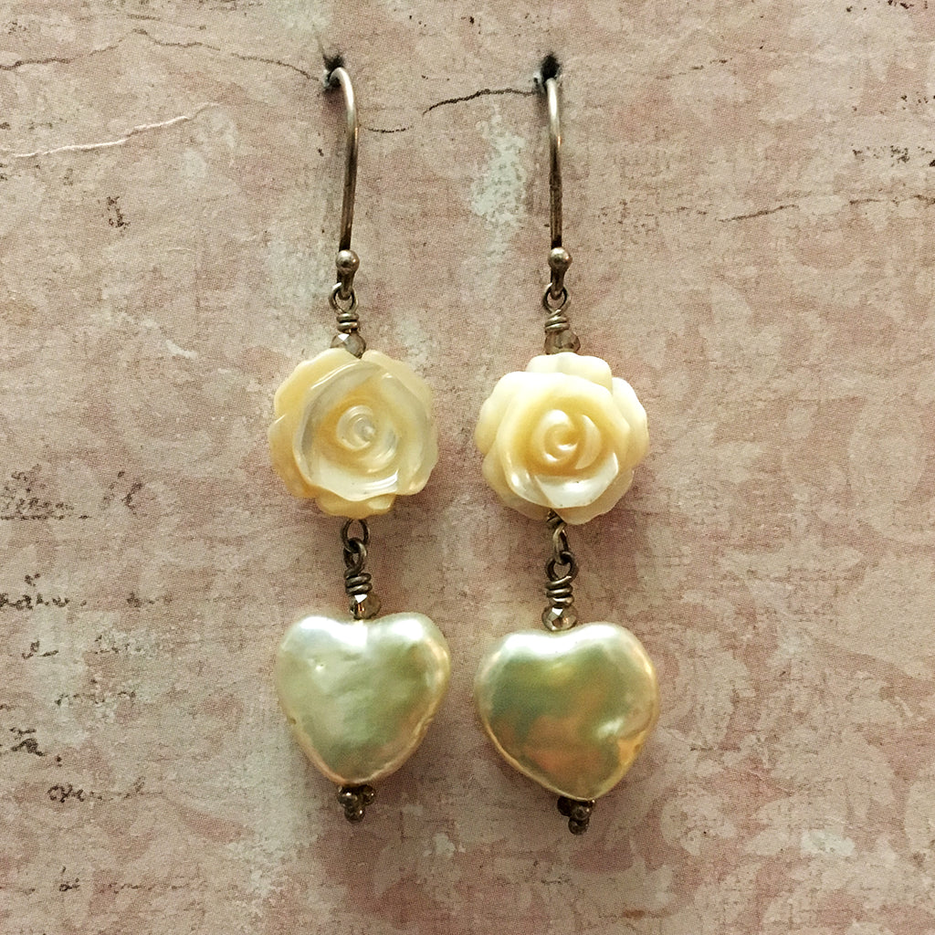 Rose and Heart Pearl Earrings