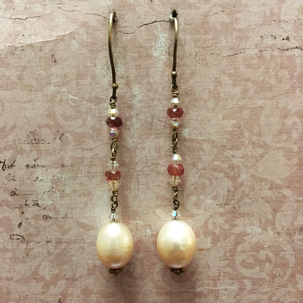 Ruby and Pearl Earrings