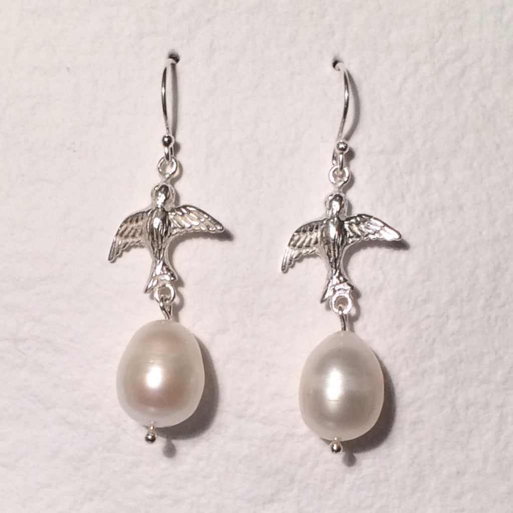 Silver Bird Pearls Earrings