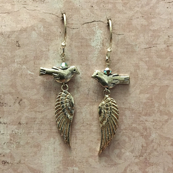 Silver Bird and Wing Earrings