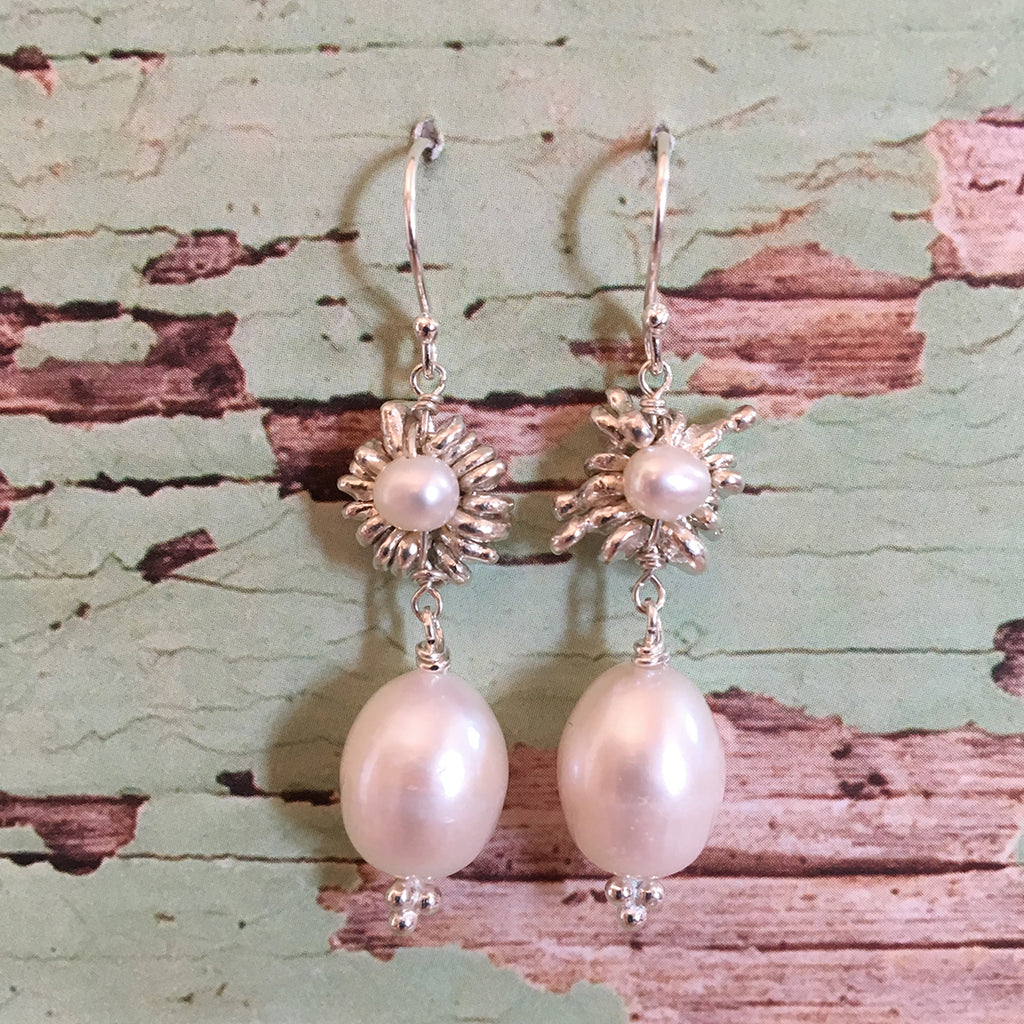 Silver Daisy and Drop Pearl Earrings