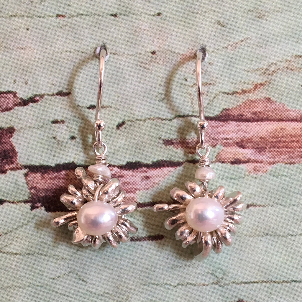 Silver Daisy and Pearl Earrings