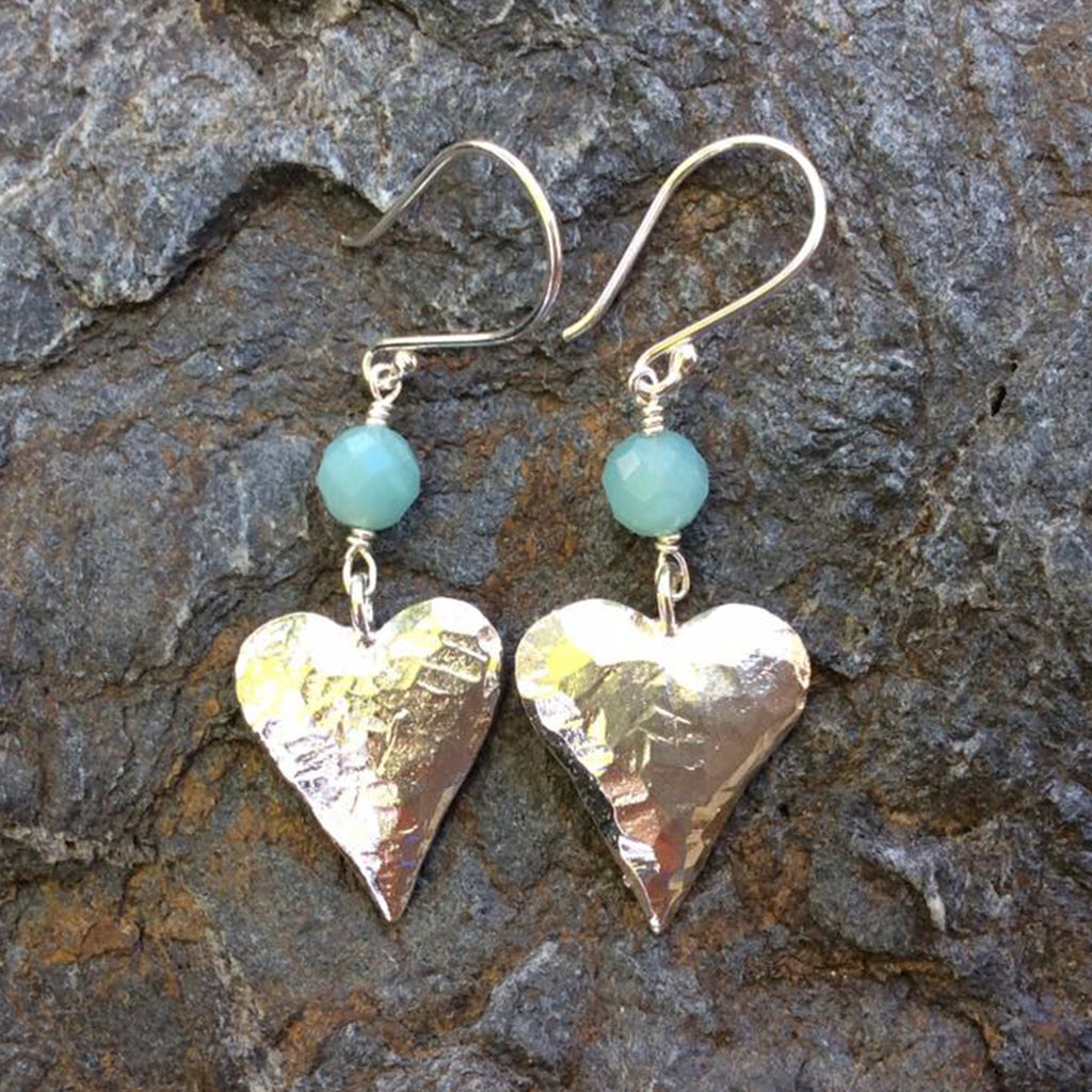 Silver Plated Pewter Hearts with Amazonite Earrings