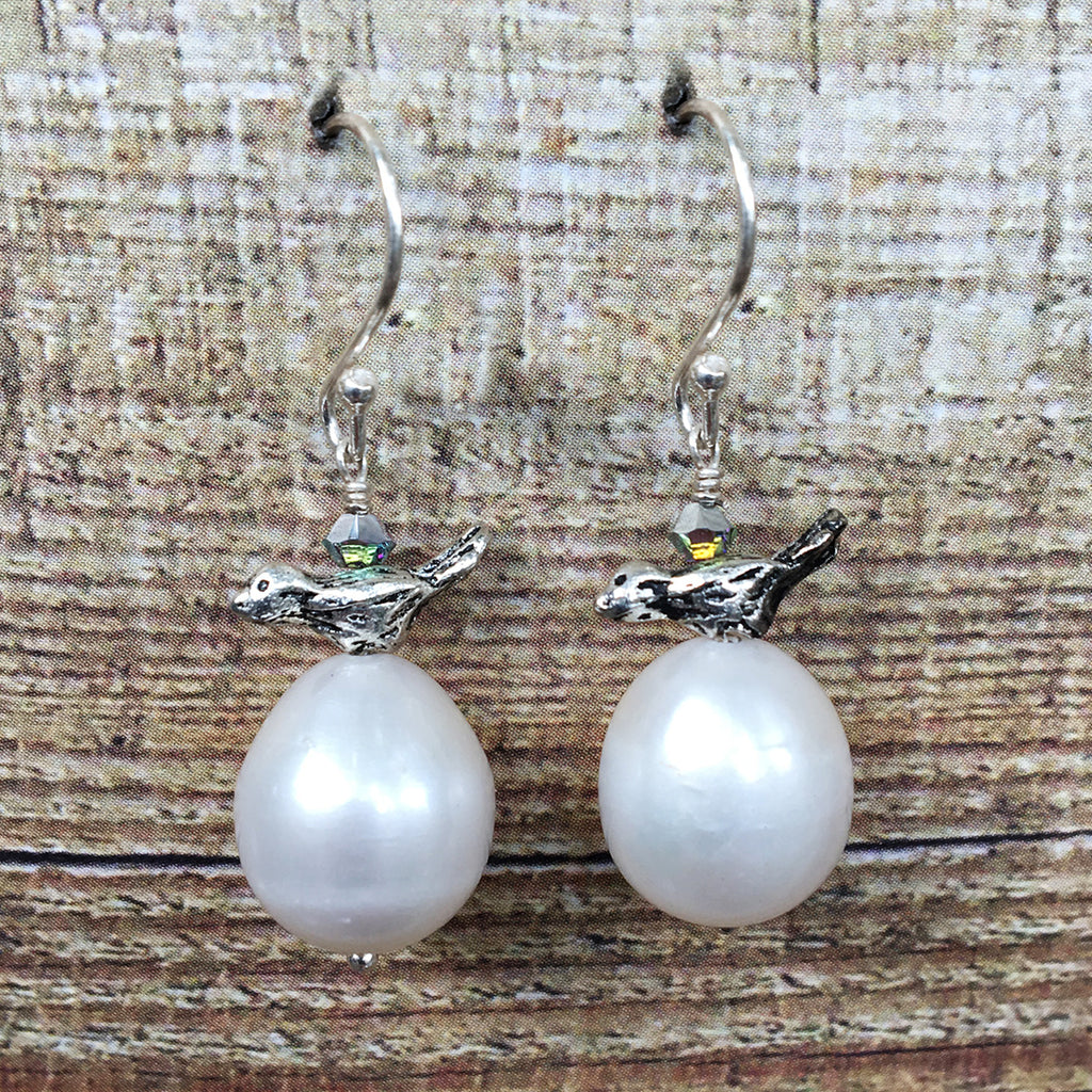 Small Bird and Pearl Earrings