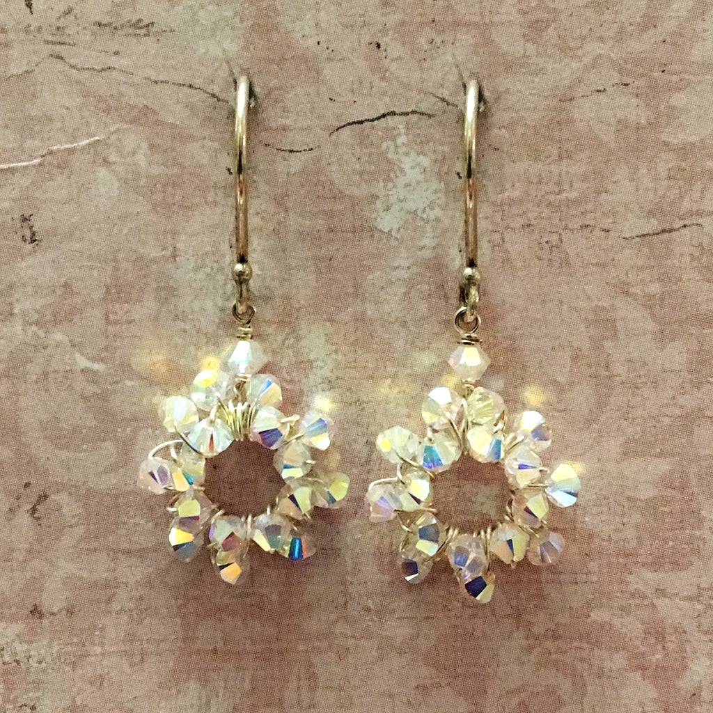 Small Crystal Halo Earrings