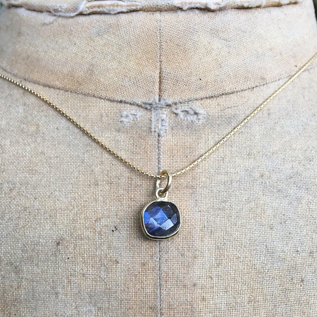 Small Faceted Squared Labradorite Pendant Necklace