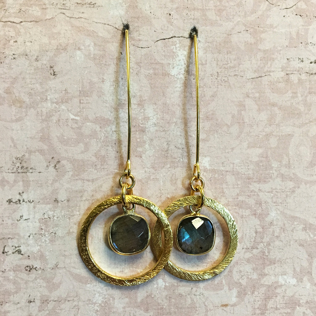 Small Halo Labradorite Earrings