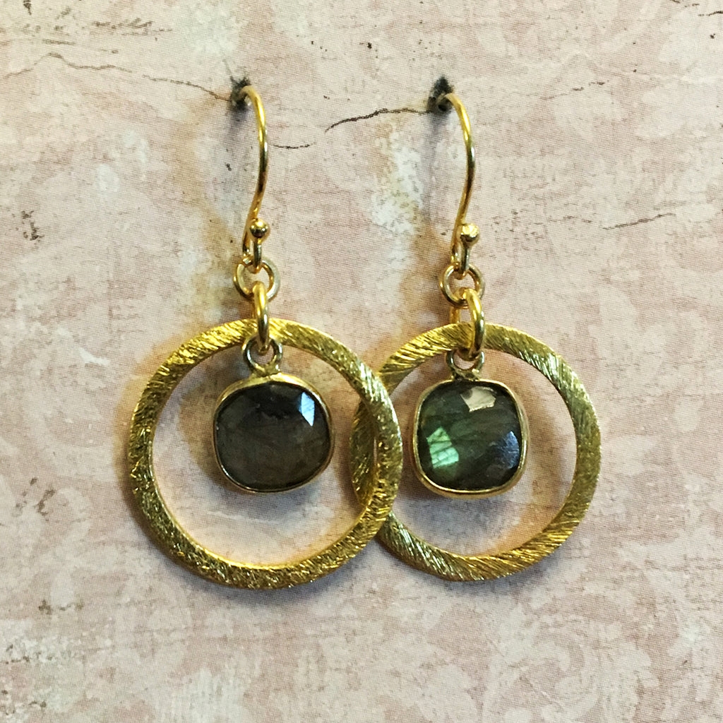 Small Halo Set Labradorite Earrings