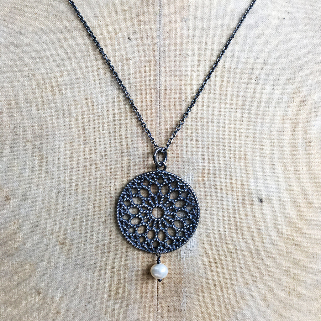 Small Oxidised Filligree Pendant With Drop Pearl Necklace