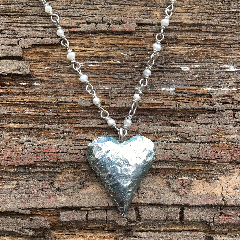 Small Oxidised Heart Necklace