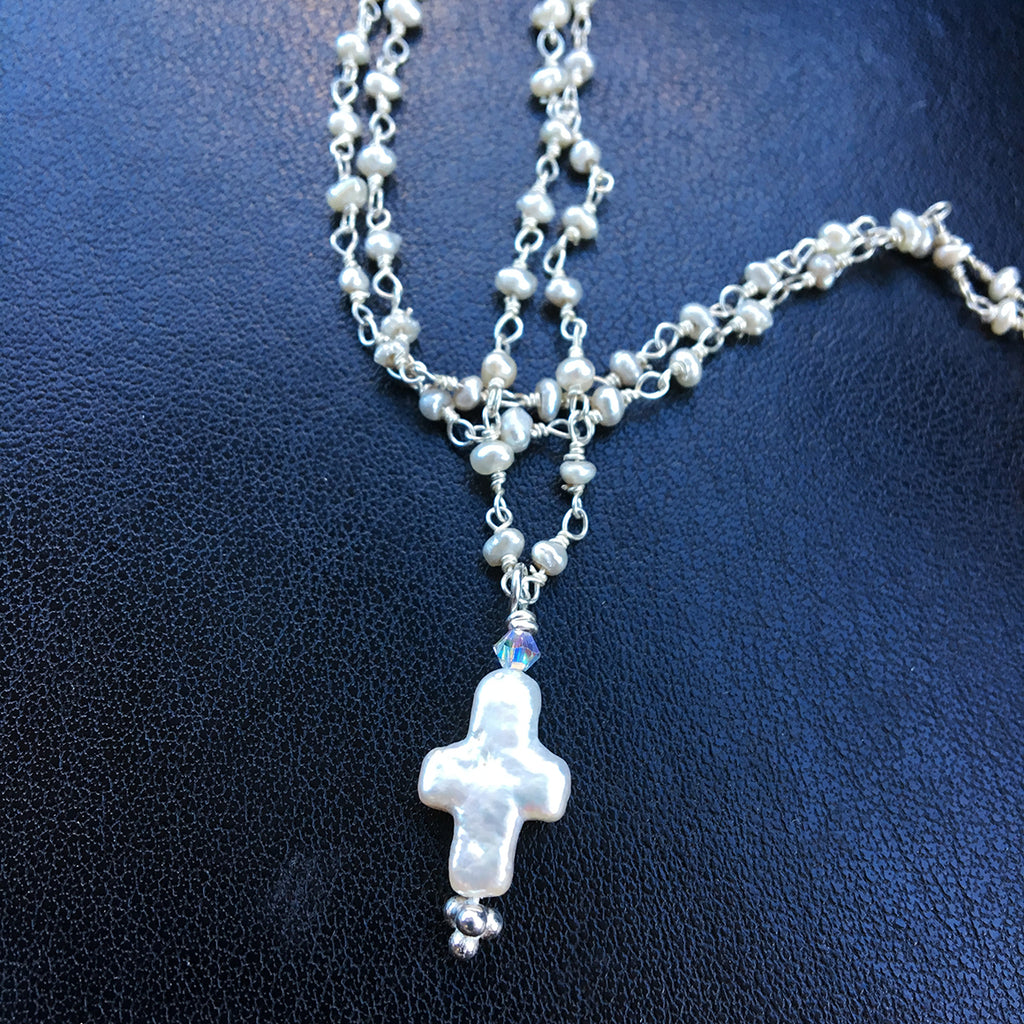 Small Pearl Cross on Pearl Chain Necklace