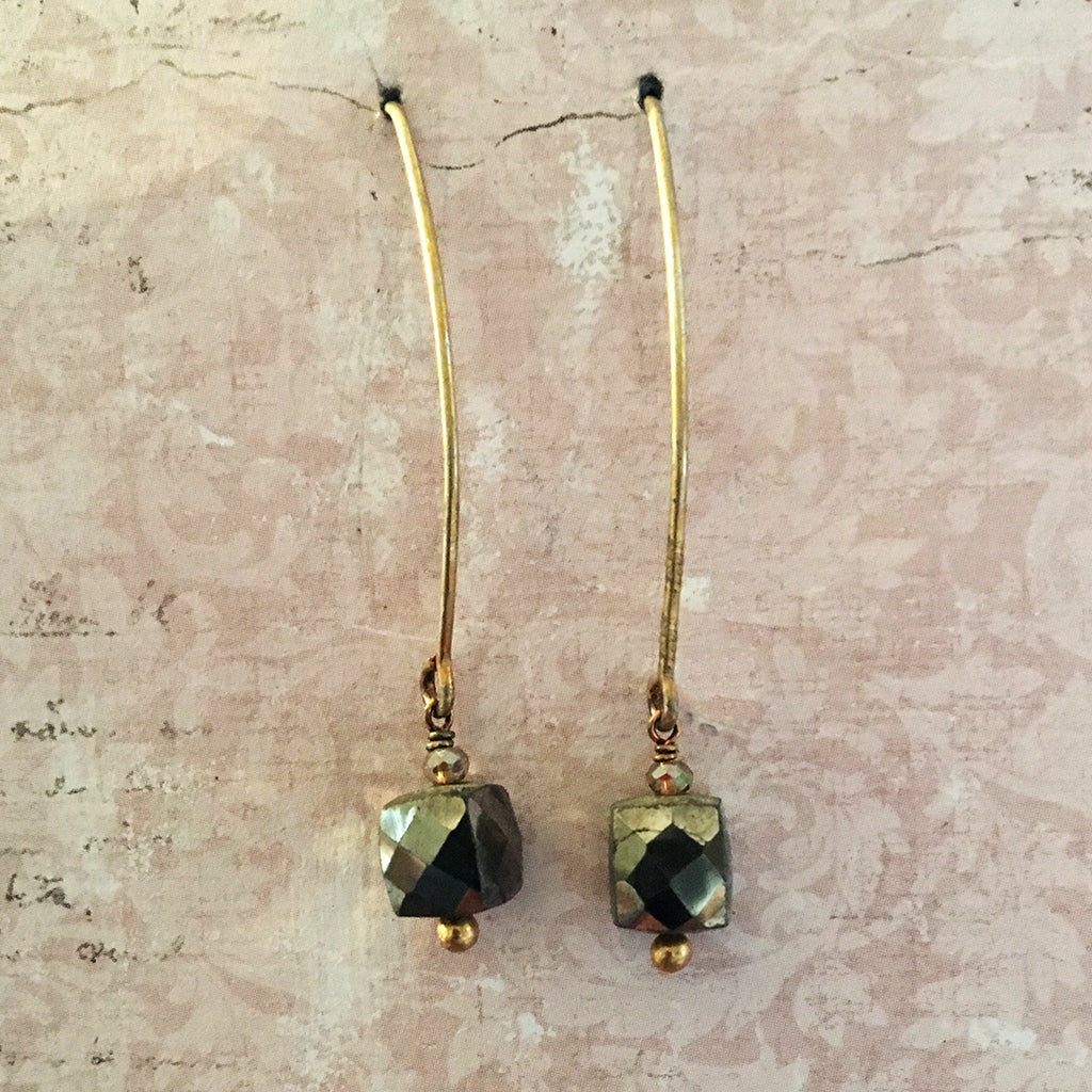 Small Pyrites Cube Arc Earrings