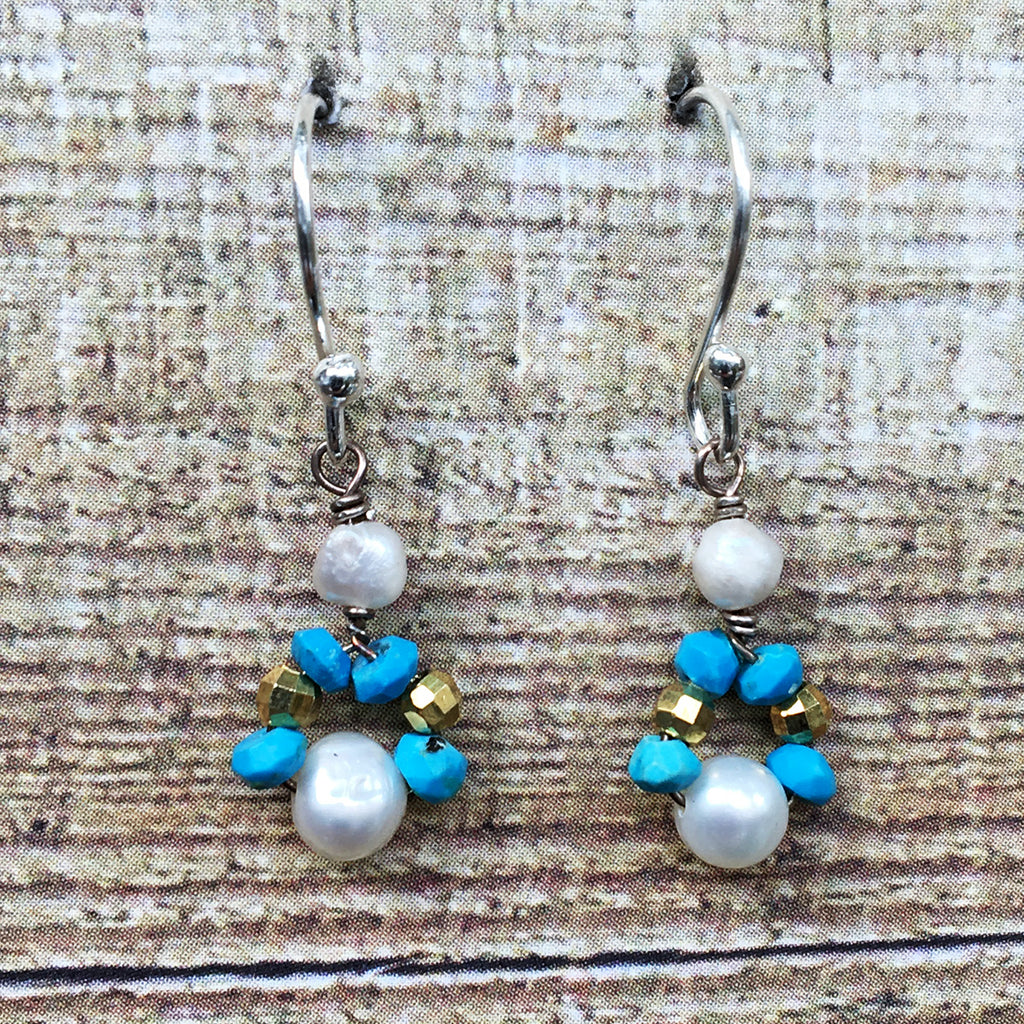 Small Turquoise and Pearl Earrings
