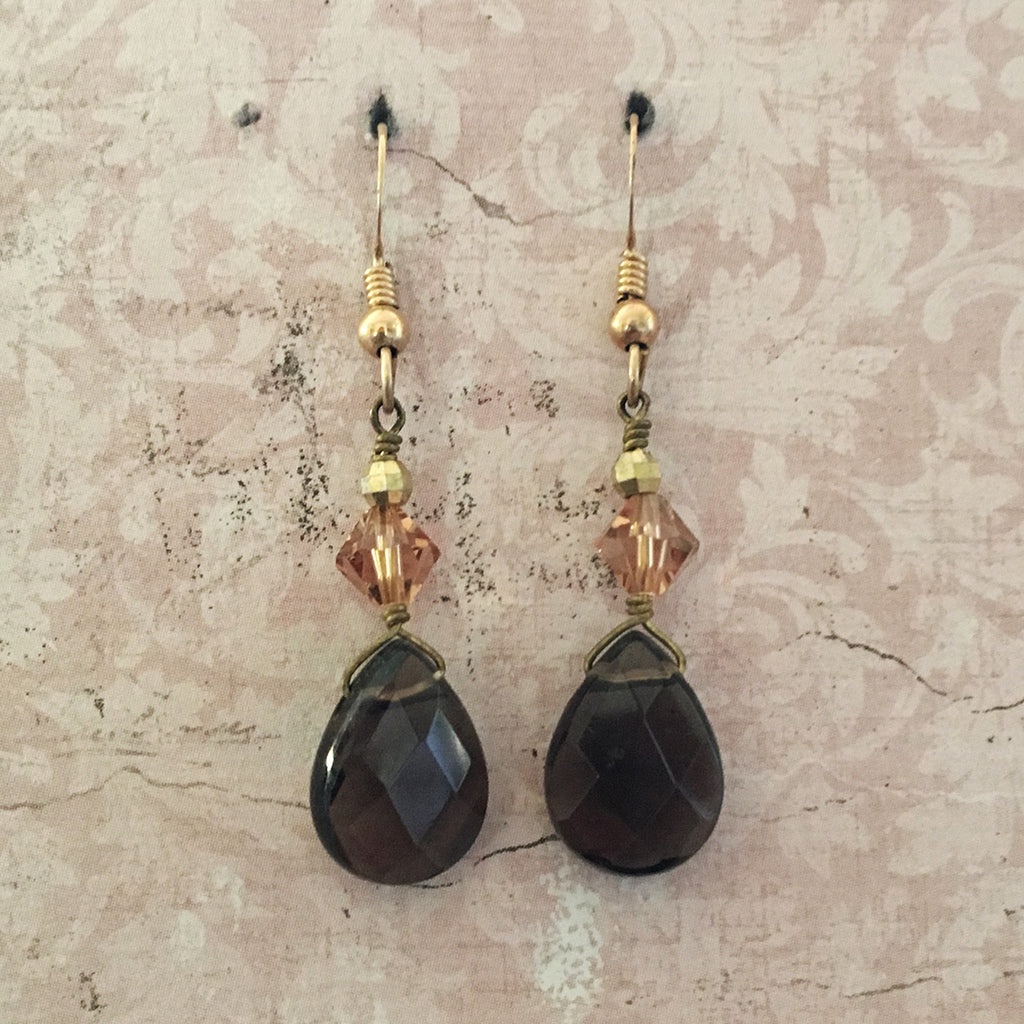 Smokey Quartz Briolette Earrings