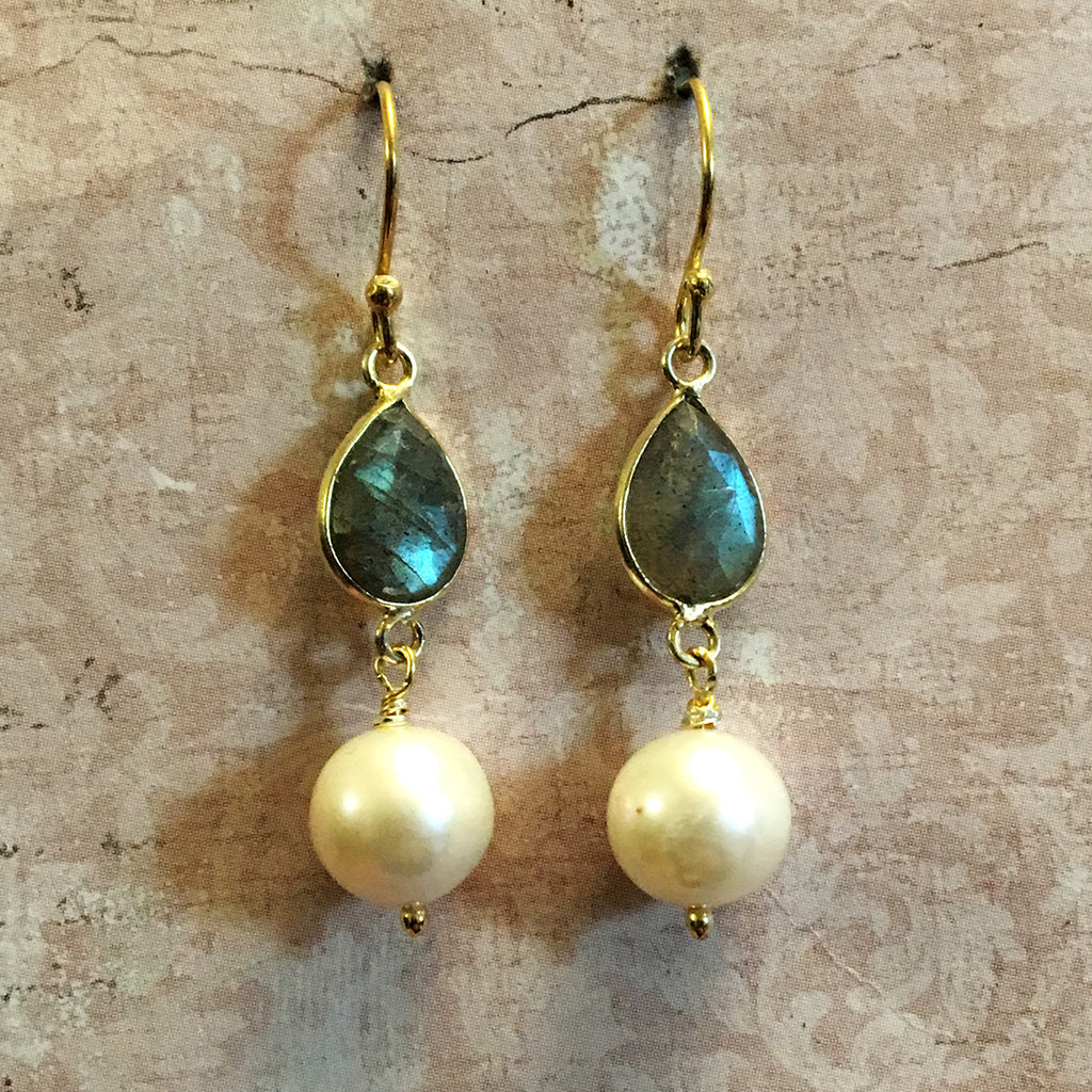 Tear Shaped Labradorite and Pearl Earrings