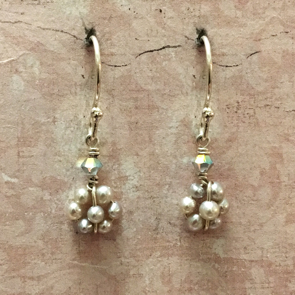 Tiny Grey Pearl Flower Earrings