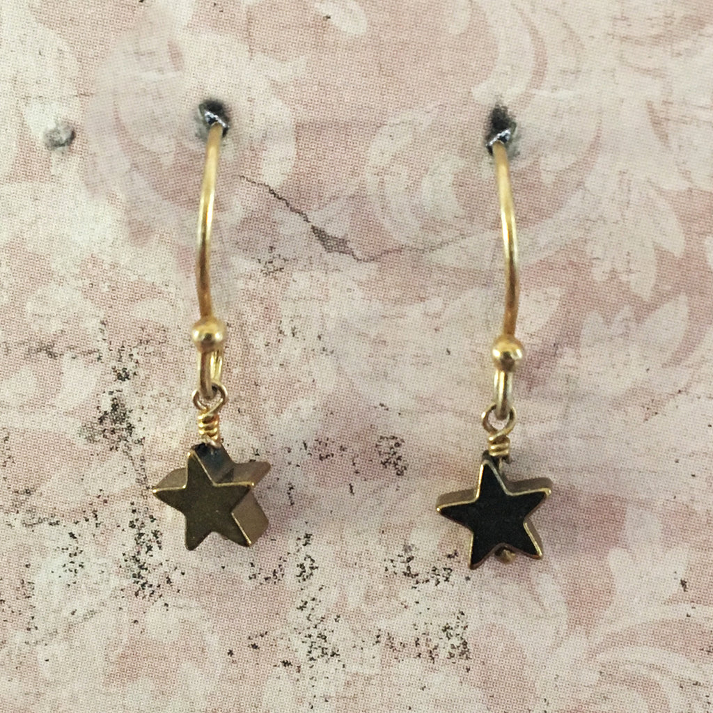 Tiny Haematite Star Earrings