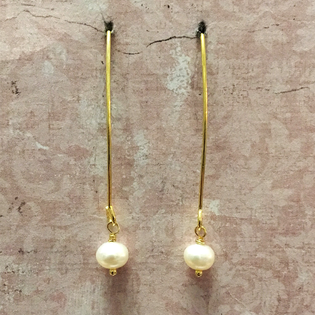Tiny Pearl Arc Earrings