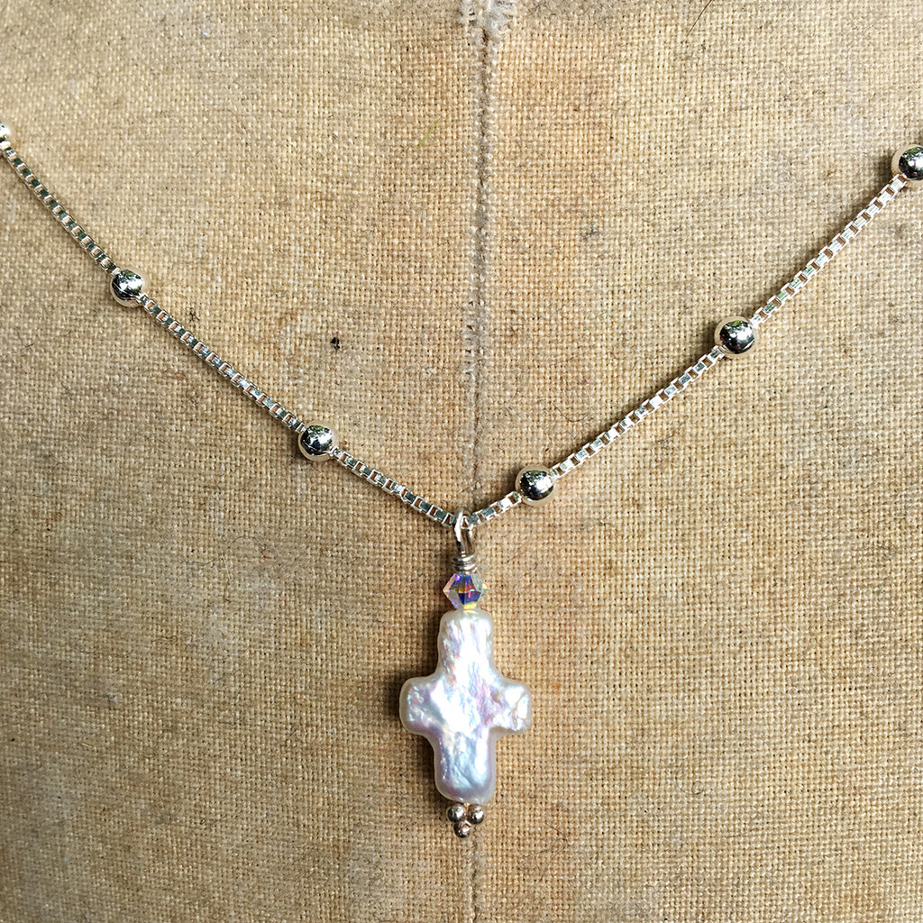 Tiny Pearl Cross on Silver Chain Necklace