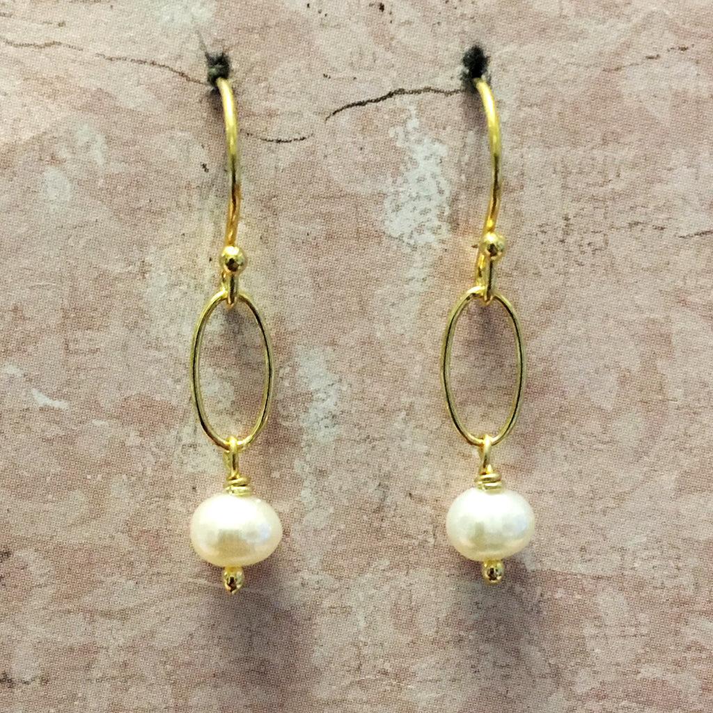 Tiny Pearl and Loose Link Earrings