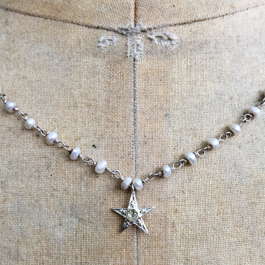 Tiny Star on Pearl Chain Necklace