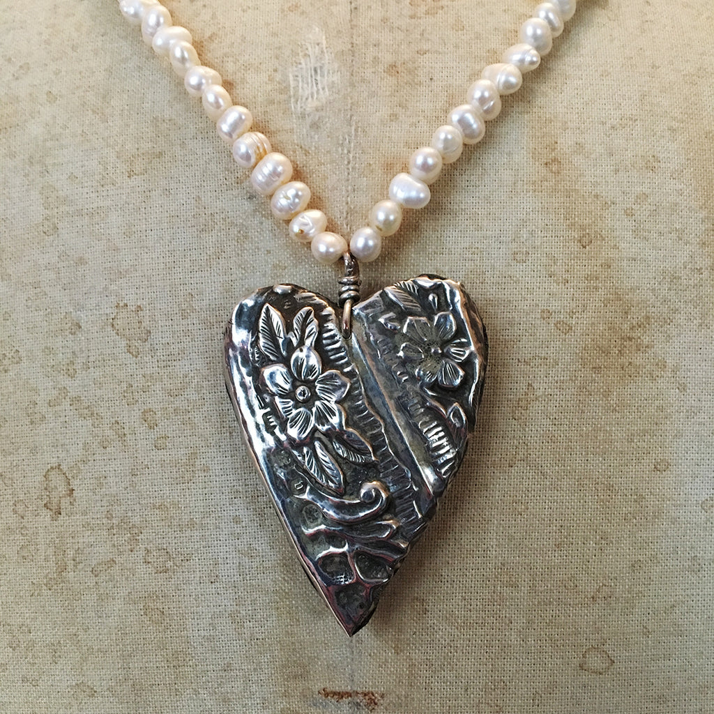 Vintage Silver Heart on Freshwater Pearl Necklace
