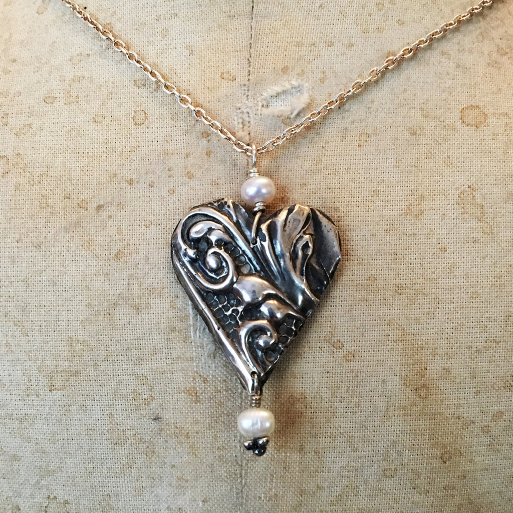 Vintage Silver Mirror Heart Necklace