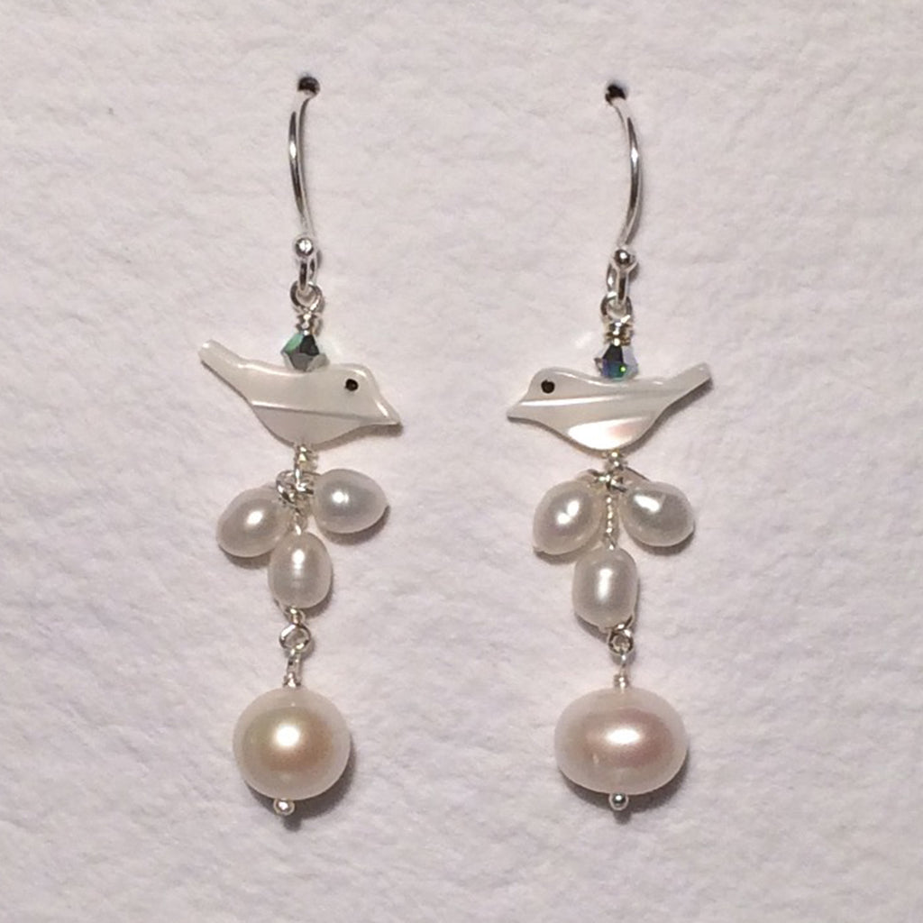 White Bird Pearl Long Earrings