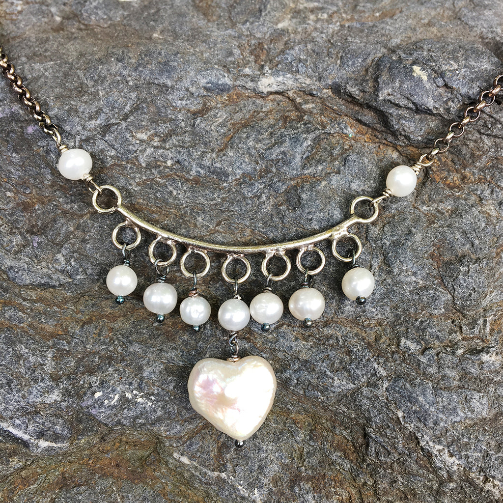 White Pearl Heart Crescent Necklace