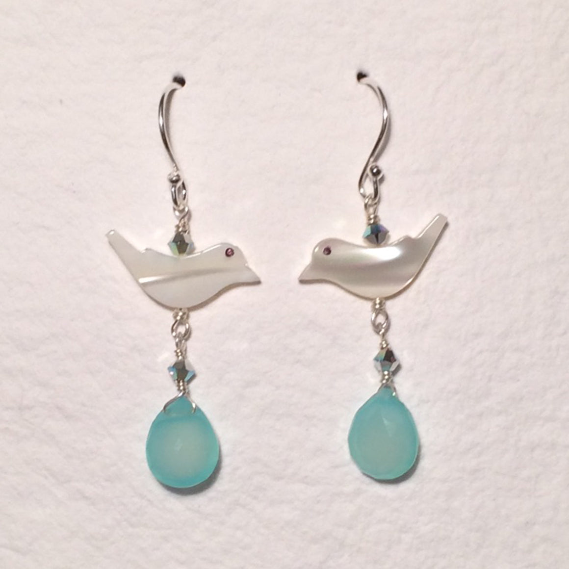 Aqua Chalcedony Bird Earrings