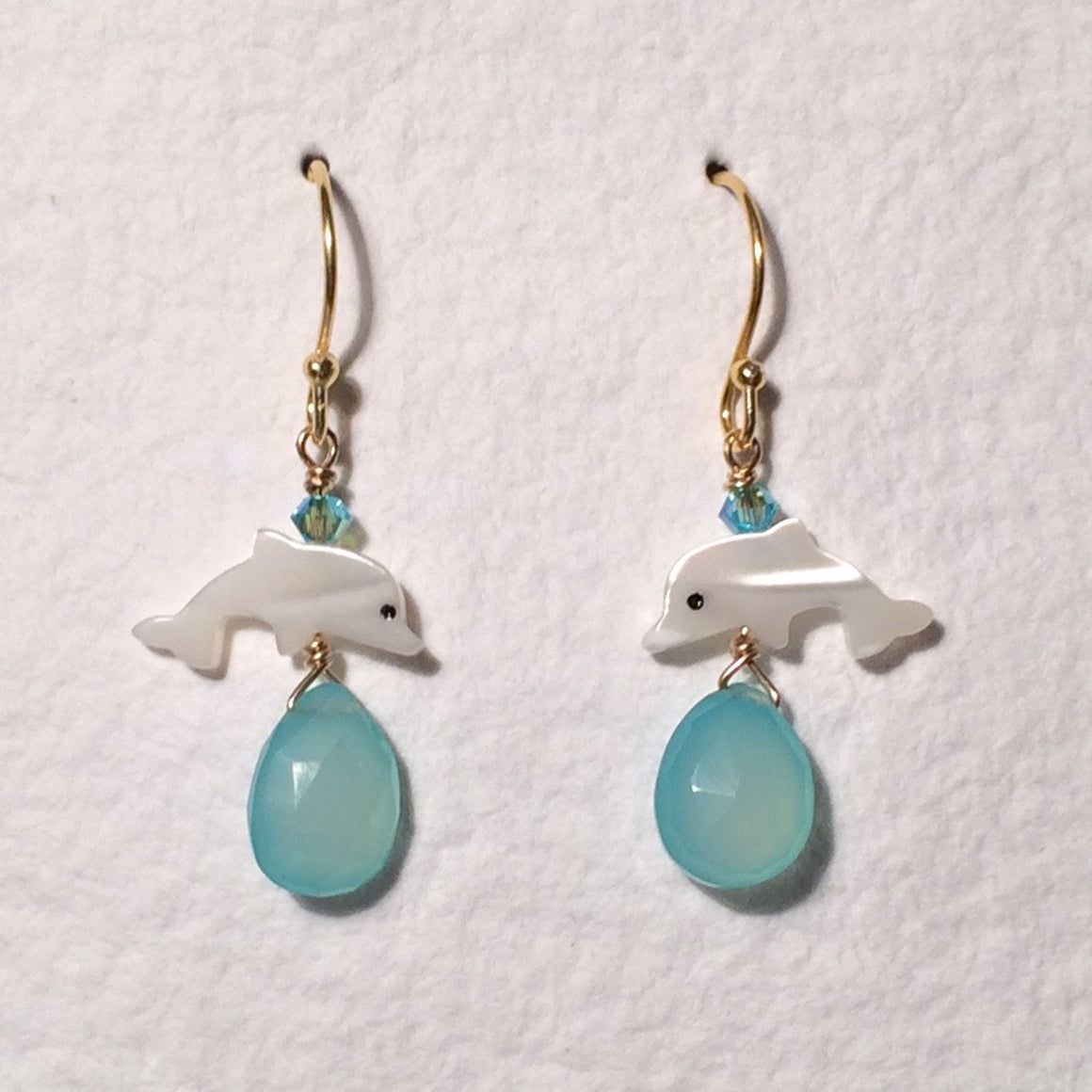 Aqua Chalcedony Dolphin Earrings