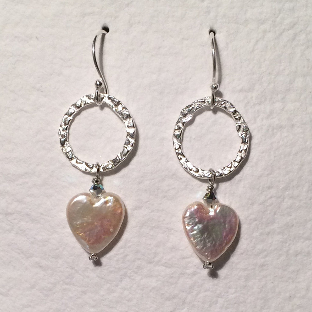 Pearl Heart and Loop Earrings