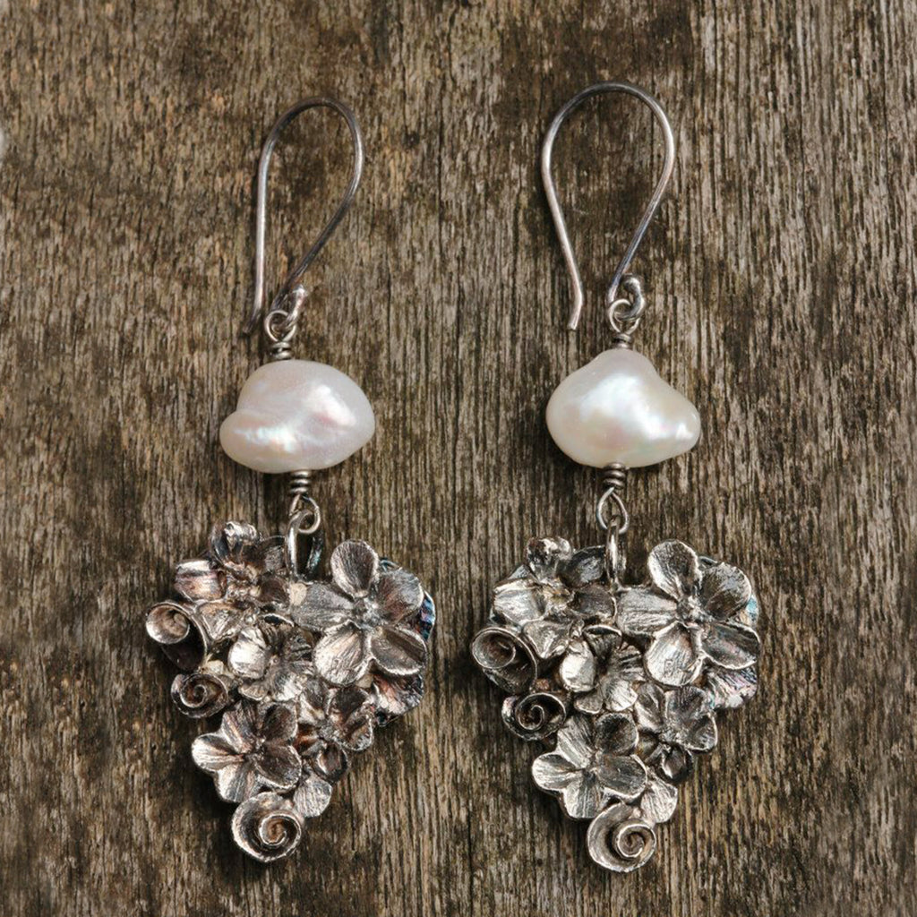 Pearl Silver Heart Earrings
