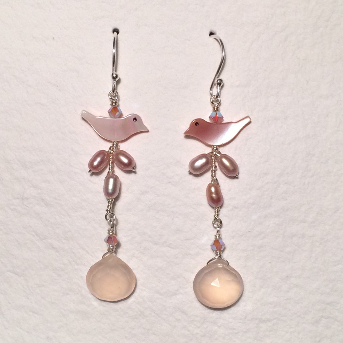 Pink Birds Long Earrings