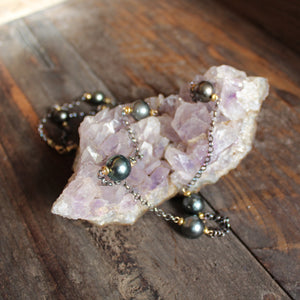 Oxidized Pearl Necklace