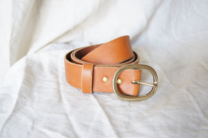 Brass Oval Buckle Belt Thick