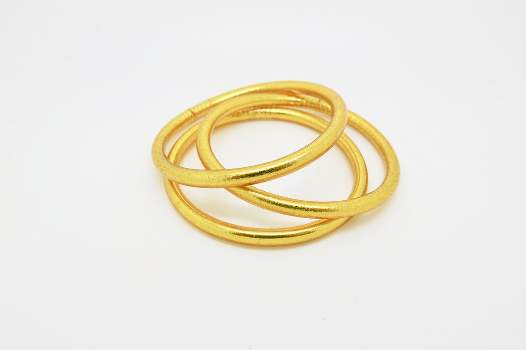 GOLD PRAYER BANGLES THICK (set of three)