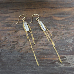 Clear Quartz with Chain Earrings