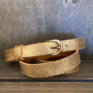 Gold Leather Belt Thin