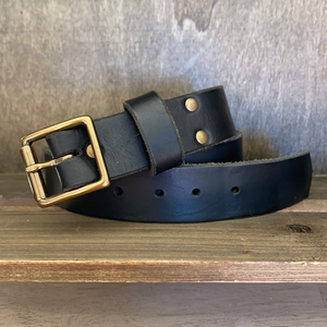 Black Leather Belt Square Buckle