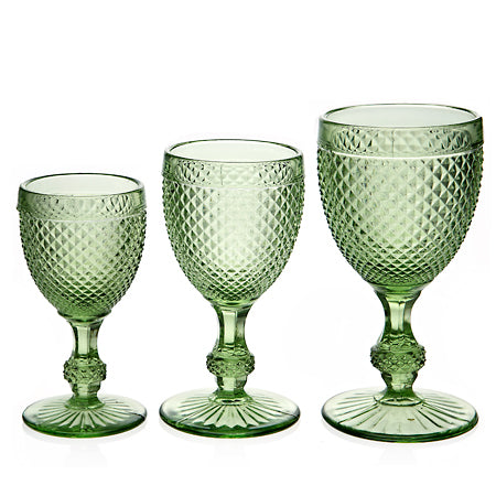 Diamond Wine Glass Green