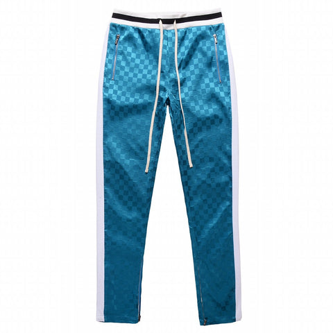 FNTY Checkerboard Half Zip Up Trackpants - Blue