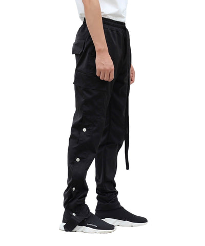 Urkoolwear Nylon Snap Cargo Pants - Black