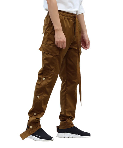 Urkoolwear Nylon Snap Cargo Pants - Brown