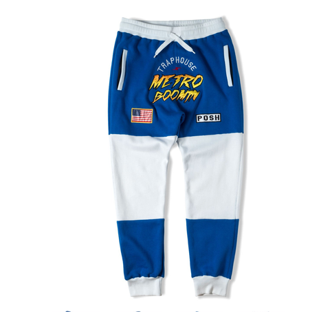 Posh NYC Metro Boomin Embroidered Men Sweatsuit Pants - Blue/White