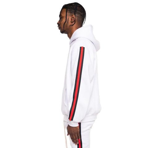 EPTM WHITE-FLEECE TAPED TRACK HOODIE